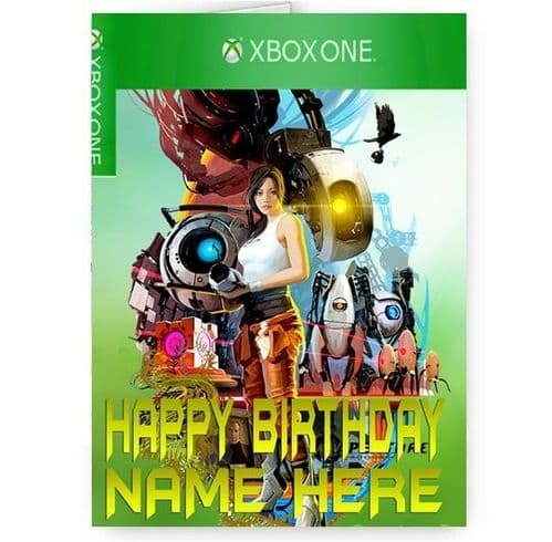 Any Name Personalised Portal 2 Xbox One Theme A5 Happy Birthday Card