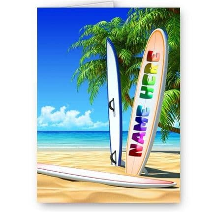 Any Name Personalised Surfboard Theme A5 All Occasions Card With Colour Envelope