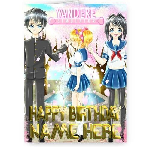 Any Name Personalised Yandere Simulator Theme A5 Happy Birthday Card