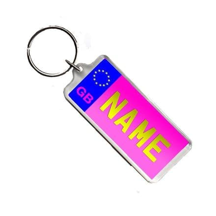 Any Name Pink Licence Number Plate Acrylic Keyring Bag Tag