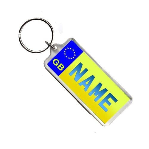 Any Name Yellow Licence Number Plate Acrylic Keyring Bag Tag