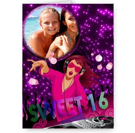 Any Personalised Photo A5 Dance, Music, Party Occasion Card With Pink Envelope