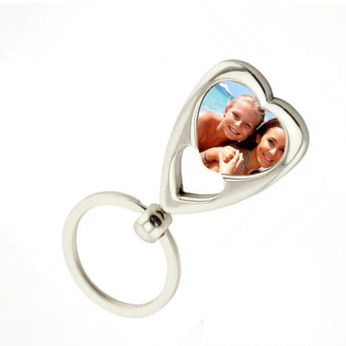 Any Photo Added Heart Style Metal Keyring With Gift Box