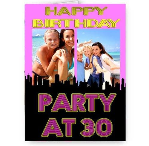 Any Photo & Age Personalised Party At A5 Happy Birthday Card With Pink Envelope