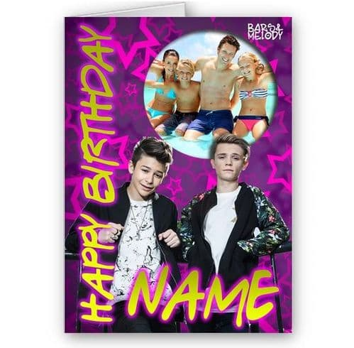 Any Photo and Name, Personalised Bars & Melody A5 Happy Birthday Card