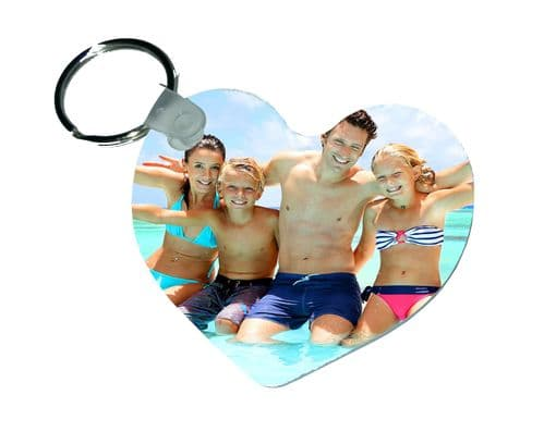 Any Photo Heart Personalised Fiberglass Plastic Keyring. Size 65mm x 57mm
