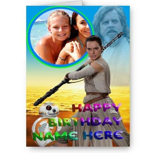 Any Photo & Name Personalised Star Wars Rey & Luke A5 All Occasion Card