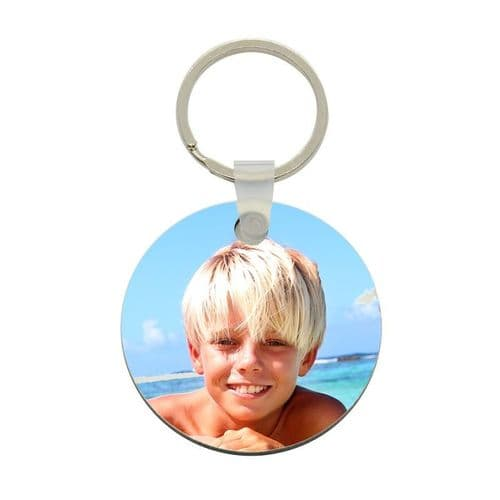 Any Photo Round Personalised Fiberglass Plastic Keyring. Size 65mm x 65mm