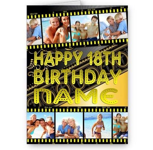 Any Photos and Text Added Personalised Film Strip A5 Special Occasion Card