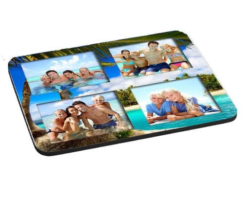 Any Photos Summer Beach Holiday Collage 5mm Thick Rectangle Mouse Mat/Pad