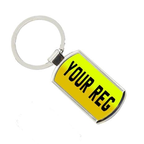 Any Reg, Number Plate Style Oblong Metal Keyring With Gift Box