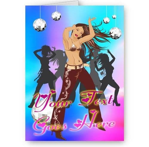 Any Text Personalised Dancing Girls A5 All Occasions Card with Envelope