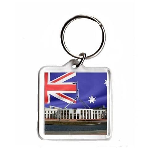 Australian Flag with New Parliament House, Square Keyring Novelty Souvenir Gift