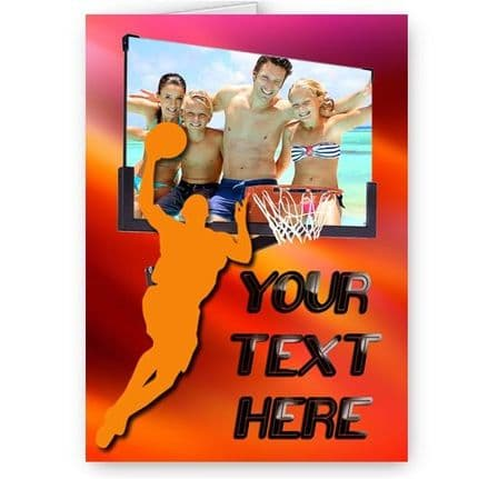 Basketball Theme Personalised Photo and Text Added A5 All Occasion Card