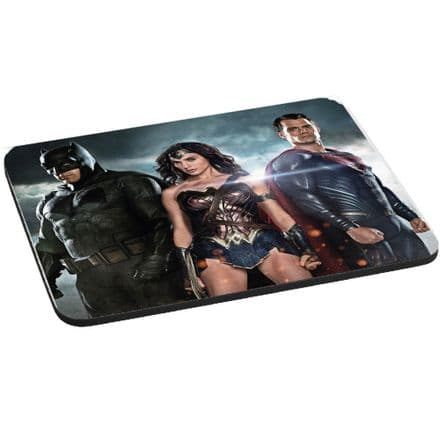 Batman vs Superman With Wonder Woman Mouse Mat, Pad 220mm x 180mm, 5mm Thick