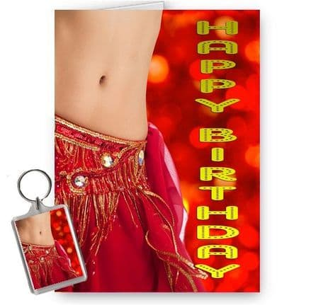 Belly Dancer Happy Birthday A5 Occasion Card With Free Keyring