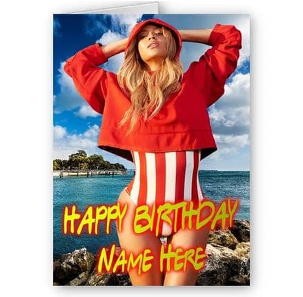 Beyonce A5 Personalised Name Added Happy Birthday Card