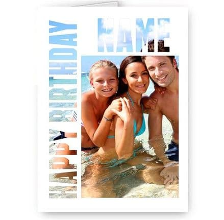 Birthday Special Effect Personalised Photo and Name A5 Card With Envelope