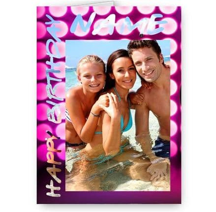 Birthday Special Effect, Personalised Photo and Name A5 Card With Pink Envelope