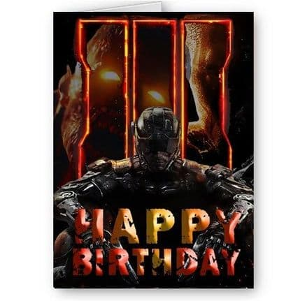 Black Ops 3 A5 Happy Birthday Card With Black Envelope