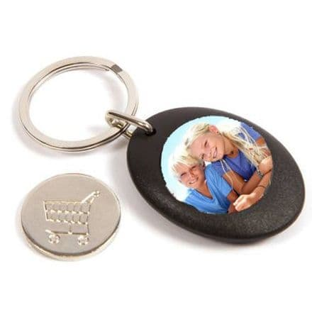Black Plastic Personalised Keyring, Shopping Trolley Pound Coin - 25mm