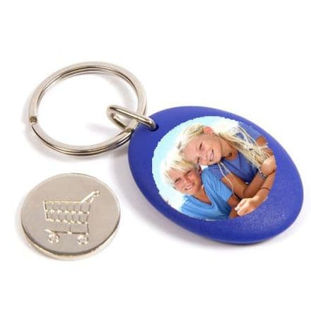 Blue Plastic Personalised Keyring, Shopping Trolley Pound Coin - 25mm