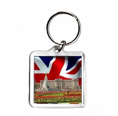 Brithish Flag with Buckingham Palace, Square Keyring Novelty Souvenir Gift