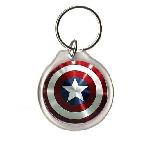 Captain America Shield Round Keyring, Pic Size 34mm, Keyring Size 45mm X 41mm