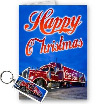 Coca Cola Christmas Truck. A5 Merry Happy Christmas Holidays Card With Free Keyring