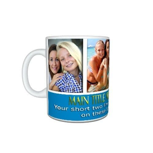 Collage 4 Photos and Short Message, 11oz, Large Handle Mug