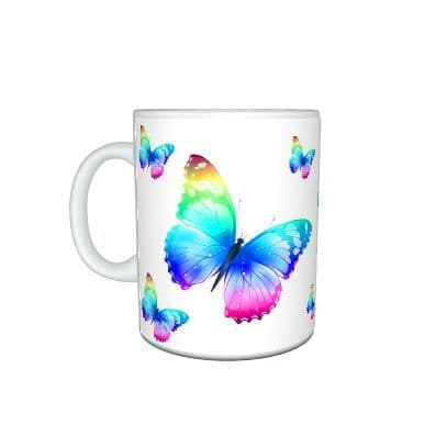 Colourful Butterflies & Short Message 11oz Large Handle Mug