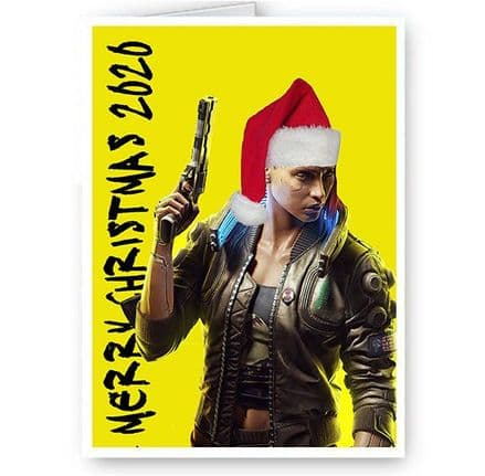 Cyberpunk 2020 Merry Christmas Happy Holidays A5 Card