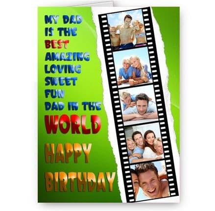 Dad, Father Happy Birthday A5 Personalised Photo World's Best Dad Card