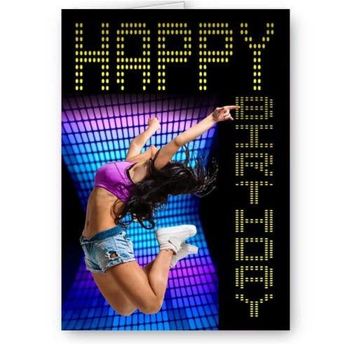 Dance, Music Theme A5 Birthday Card With Yellow Envelope