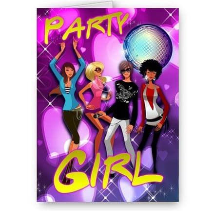Dancing Party Girls A5 All Occasions Card with Envelope