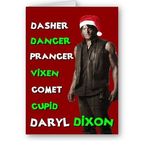 Daryl Dixon Walking Dead Christmas Holiday A5 Card With Red Envelope