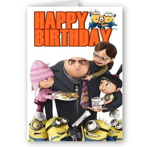 Despicable Me Minions & Gru Family, A5 Happy Birthday Card