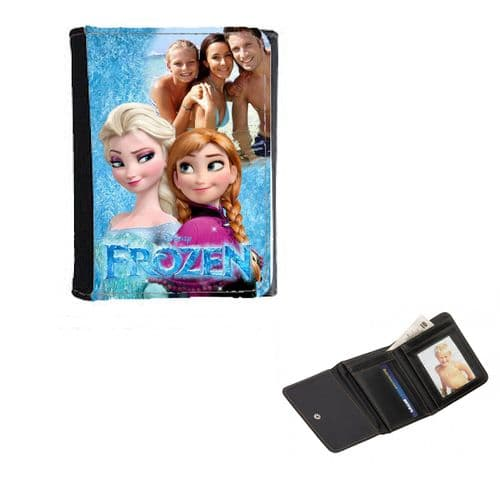 Disney Anna & Elsa Frozen Personalised Photo, Mens, Ladies, Girls Wallet or Purse 12cm x 9cm