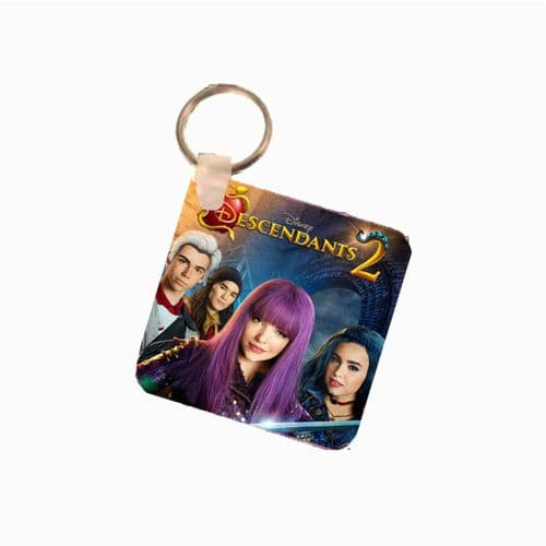 Disney Descendants 2, Fiberglass Square Keyring. Size 60mm x 60mm