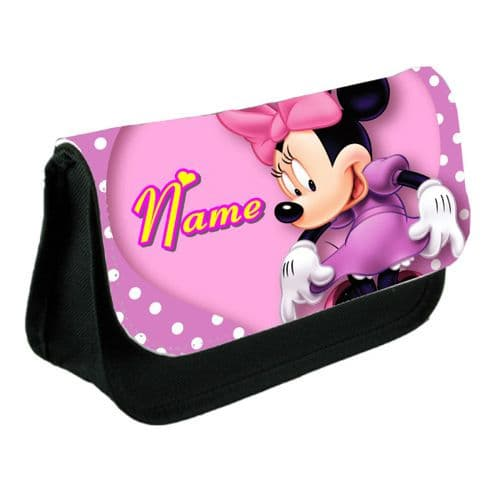 Disney Minnie Mouse Personalised Name Added Pencil Case Or Make-Up Bag Black