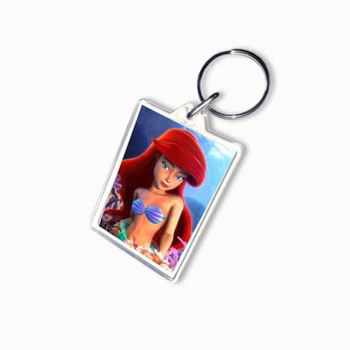 Disney Princess Ariel, Little Mermaid, Large Keyring, Pic Size 35mm X 50mm
