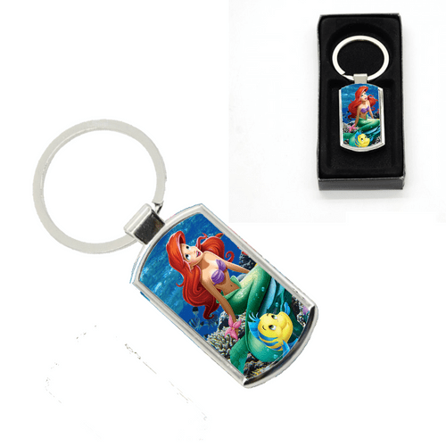 Disney Princess Ariel Little Mermaid Oblong Metal Keyring With Gift Box
