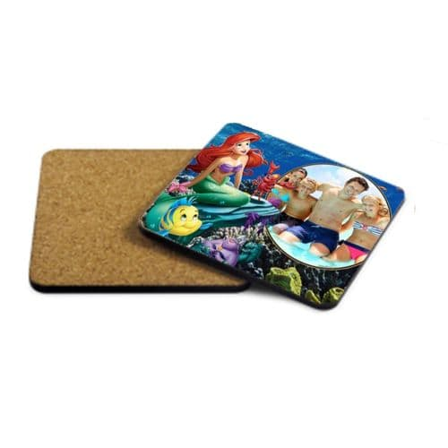 Disney Princess Ariel, Personalised Photo MDF Strong Coaster 9cm X 9cm