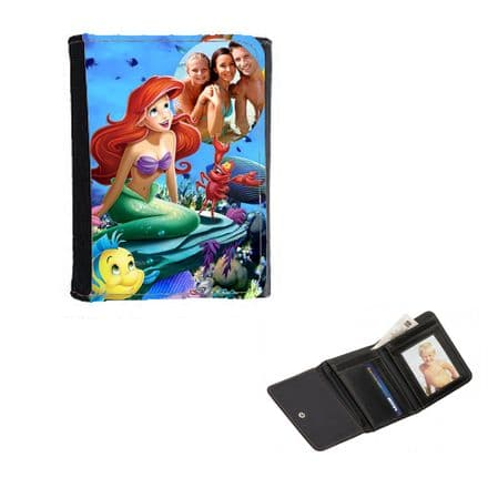 Disney Princess Ariel Personalised Photo, Mens, Ladies, Girls Wallet or Purse 12cm x 9cm