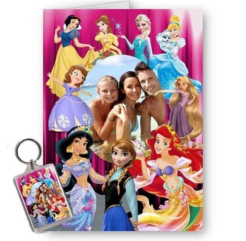 Disney Princesses Photo Added, A5 All Occassions Card, Birthday, Christmas.