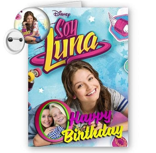 Disney Soy Luna Personalised Photo A5 Happy Birthday Card With Free Badge