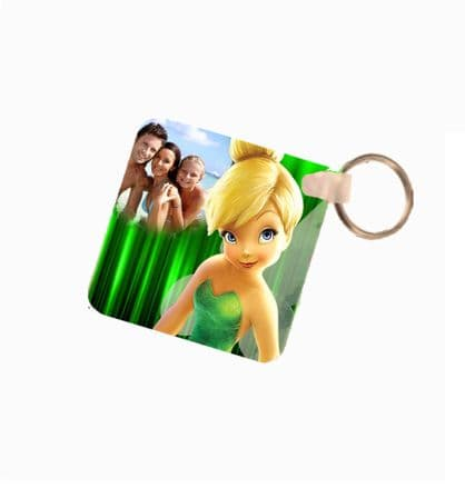 Disney Tinkerbell Personalised Photo Fiberglass Plastic Square Keyring. Size 60mm x 60mm