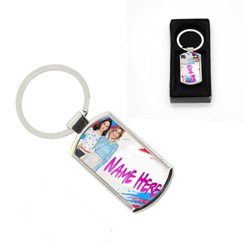 Disney Violetta Personalised Name Added Oblong Metal Keyring With Gift Box