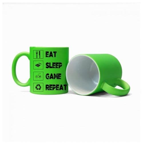 Eat, Sleep, Game, Repeat, Gamer Mug, Size 11oz, Fluorescent Neon Green