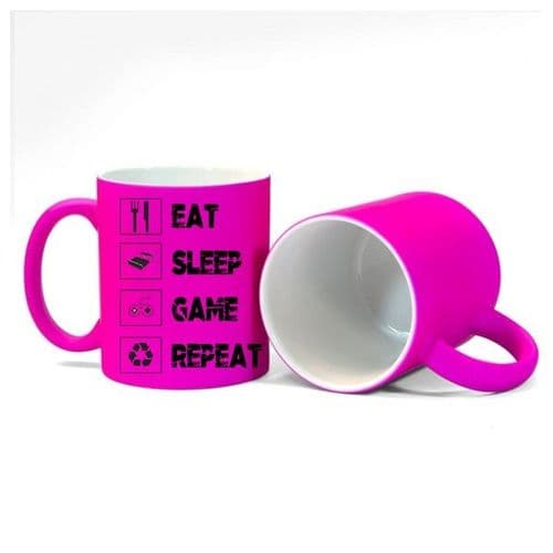 Eat, Sleep, Game, Repeat, Gamer Mug, Size 11oz, Fluorescent Neon Pink